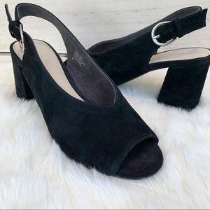 ANTHROPOLOGIE Black Suede Slingback Sandals SZ 8
